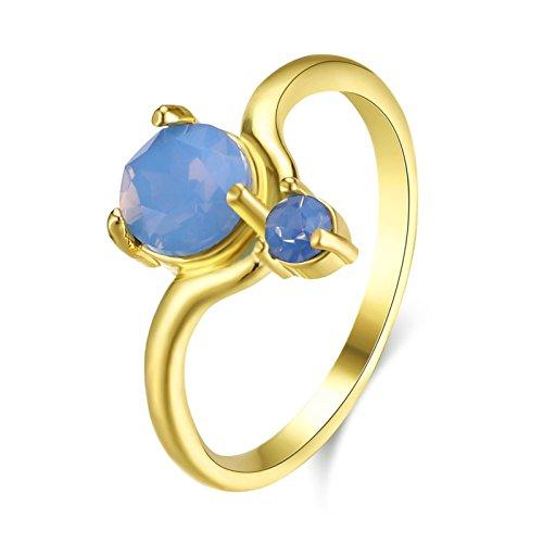 Adisaer Edelstahlring Damen Goldring Frau Titanring Edelstahl Damen Ring Gold Zirkonia Rund Stein Blau Größe 57 (18.1) Alltag Süß Ring Für Mädchen