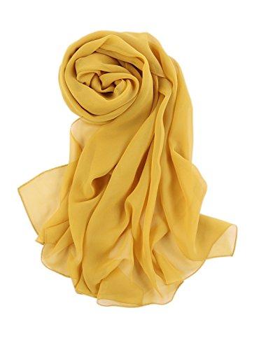 Prettystern - 176CM uni-Farbe tinta unita semplice scialle in seta pura sciarpa - limone giallo