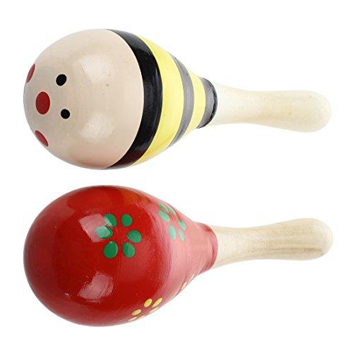 Maracas - SODIAL(R) 2 X giocattolo strumento musicale legno Maracas per i bambini