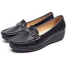 Mocasines Negros Planos para Mujer Invierno - Zapatos Comodos Plataforma Cuña, Adecuado para Oficina y