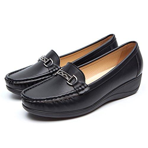 Nero pelle mocassini scarpe per donna - cestfini comode flat loafers donna, la scelta migliore per camminare, scarpe con zeppa platform, per tutte le stagioni sh001-black-38