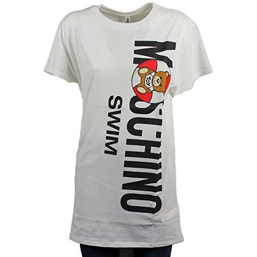 Moschino t-shirt girocollo swim, donna, maglietta a maniche corte, maxi stampa frontale orsetto con salvagente teddy bear, logo stampato, mod. a1920 2615 p/e18 (bianco). m