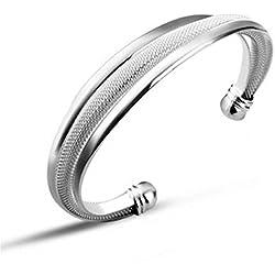 HOT vente Argent Massif 925° ° °-Relief Jewelry Classic Bracelet jonc en argent gravé Blanc
