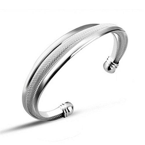 NYKKOLA Bracelet jonc sculpté en plaqué argent sterling 925 blanc pour femme et homme
