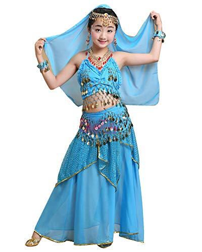 Kostüm Indien Tanz - Lishui Kinder Mädchen Tanzkostüme Bauchtanz Karneval Ägypten Indien Tanzkleidung Lake Blau M 100-120CM