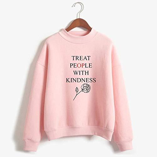 Whittie Harry Style T-Shirt mit hohem Kragen Unisex Sport Long Sleeve Sweatshirt,Pink,XXS