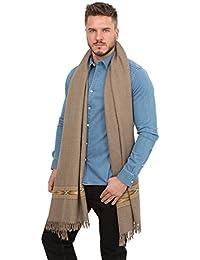 Grande écharpe 'Takhi' tissée à la main en laine mérinos, 100 X 200cm Marron