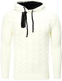 BLZ jeans - Pull à capuche et maille torsadée tendance blanc
