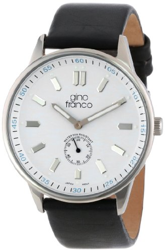 gino franco Men's 992BK Round Stainless Steel Genuine Leather Strap Watch