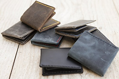 ganz kleines graues Herren Portemonnaie MONO Ledergeldbörse aus bestem Leder, handmade in Germany