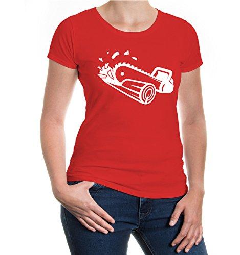 buXsbaum® Girlie T-Shirt Kettensäge Red-White