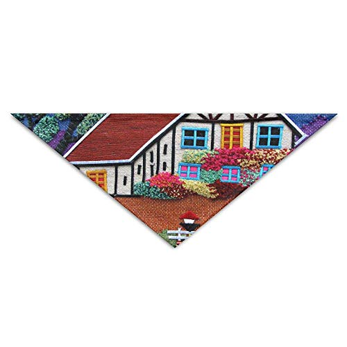Gxdchfj Beautiful Country Cottage Turban Triangle Scarf Bib Scarf Accessories Pet Cat and Baby Puppy Saliva Dog Towel -
