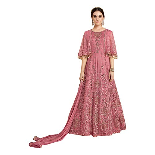 Pink Eid Collection Indische muslimische Braut pakistanische Bollywood Anarkali Salwar Kameez bereit, Designer Boden Touch Net schwere Stickerei 7887 zu tragen Super Net Saree