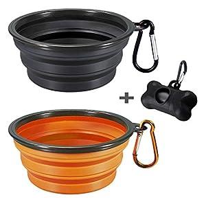 2 Portable Pliable Bol de chien, Silicone de qualité alimentaire sans BPA, bol de voyage pliable pour animal Chien Chat Nourriture Eau alimentation, y compris Noir Chien Distributeur de sac à déjections canines