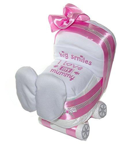 Windelwagen rosa - 3 tlg Geschenk Geburt zur Mädchen - Baby Windeltorte rosa - dubistda© handmade