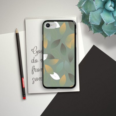 Apple iPhone X Silikon Hülle Case Schutzhülle Herbst Blätter Grün Hard Case schwarz