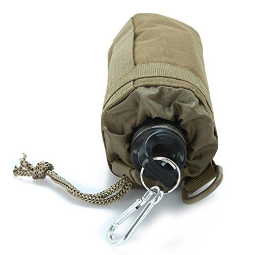 F@Gli appassionati di militari viaggiano campeggio bollitore copertine, esterno in nylon impermeabile sport bottiglia borsa, Bollitore tattico, con allegati pendenti , black Black