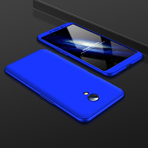 JMGoodstore Hülle Kompatibel Meizu M6s Meilan S6,+Panzerglas Displayschutzfolie,3 in 1 Ultra Dünn 360 Full Body Anti-Kratzer Hart PC Skin Glatte Rückseite Bumper Blau