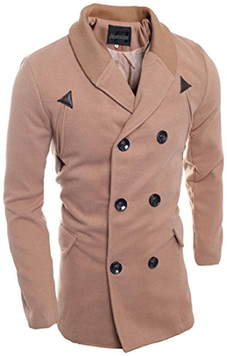 Jeansian Manteau et Blousons Long Homme Hiver Men's Fashion Lapel Double Breasted Long Winter Jacket Coat 9560 LightBrown