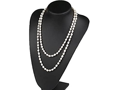 Long rope 8-9mm Rice Shape White Natural Freshwater Pearl Necklace