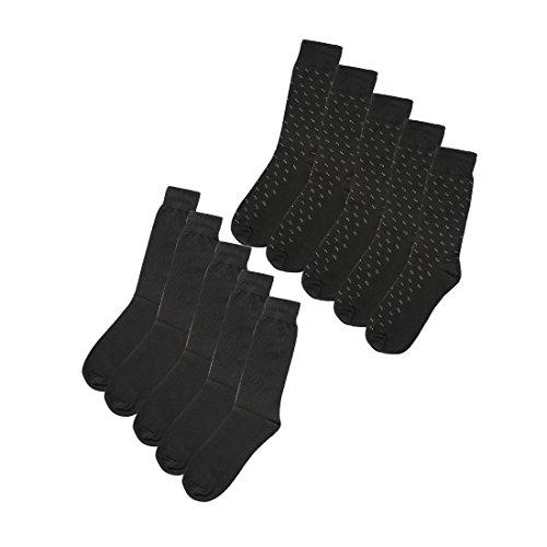 sourcingmap Herren Luxus Baumwolle Muster langes Kleid gerippt sortierte Socken Größe 13-15 (Socken Kleid Gerippte)