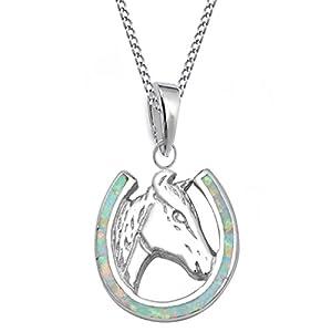 GH* Opal Hufeisen mit Pferdekopf ANHÄNGER + KETTE 925 Echt Silber Mädchen Damen Pferde CH25