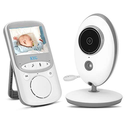 """Baby Monitor per Bambino Babyphone Display 2.4\"""" HD Wireless Visione Notturna Citofono a 2 vie Videosorveglianza Telecamera Ricaricabile 300m Microfono Speaker Ninna nanna Temperatura Multifunzione"""