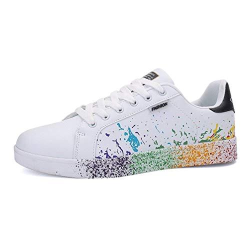 Herren Laufschuhe Atmungsaktive Wanderschuhe Regenbogen Farbe Unisex Outdoor Sports Weiche Flache Schuhe (Farbe : Schwarz, Größe : 7 UK) (Größe 7 Schwarz Flache Schuhe)
