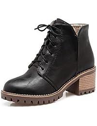La mujer confort botas botas de combate Novedad Otoño Invierno polipiel oficina informal y Carrera Lace-up Chunky talón gris amarillo negro de 2A-2,Negro,US10.5 / UE42 / UK8.5 / CN43