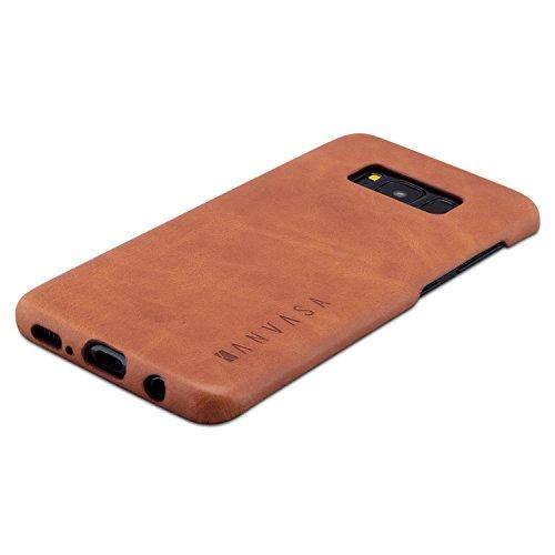KANVASA Galaxy S8 Lederhülle Leder Case Ledertasche Braun One Luxus Echtleder Backcover für Original Samsung Galaxy S8 (5,8 Zoll) - Rindsleder Hülle Ultradünn - Optimaler Schutz und Edles Design