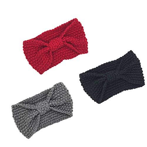 KQueenStar Damen Gestrickt Stirnband -3 Stück Häkelarbeit Schleife Headwrap Design Stirnband Winter Kopfband Haarband Headwrap Ohr Wärmer, 2 Schwarz + Dunkelgrau + Weinrot, M (Ohr-schleife)