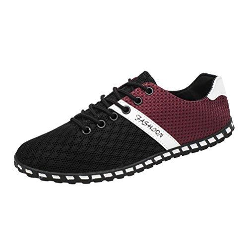 Sneaker Herren Casual Low-Top Schnüren Outdoor Mesh Bequeme Atmungsaktive Sneakers Flache Schuhe Freizeitschuhe Bootsschuhe Leichte Schuhe (43, Schwarz) -