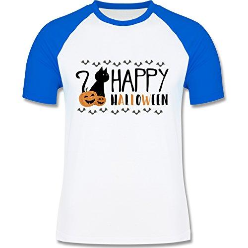 Halloween - Happy Halloween - zweifarbiges Baseballshirt für Männer Weiß/Royalblau