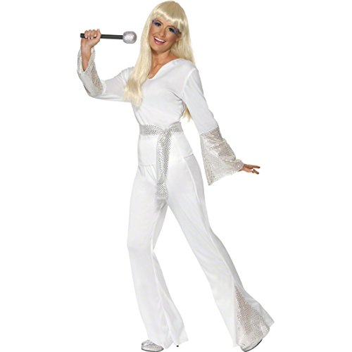 NET TOYS Kostüm weiß L 44/46 Tanzkostüm Tanz Kostüm Discokostüm Damen Karneval (Tanz Kostüm Weiß)
