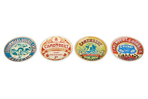 BIA Cordon Bleu 5-Inch Fromage Coupe Plate, Set of 4, Assorted Designs Coupe Dinner Plate