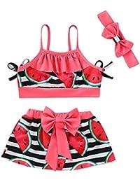 bd015c5b7e35c Mitlfuny Niño Traje de Baño Bañador de Natación bebé Niñas Honda Bikini  Sandia Estampado Tops +