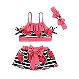99882073cd7ea 24. bobo4818 Kinder Mädchen Bikini Strand Hosenträger Tops + Rock +  Stirnbänder Badeanzug Set (Rote, 18-24 Months)