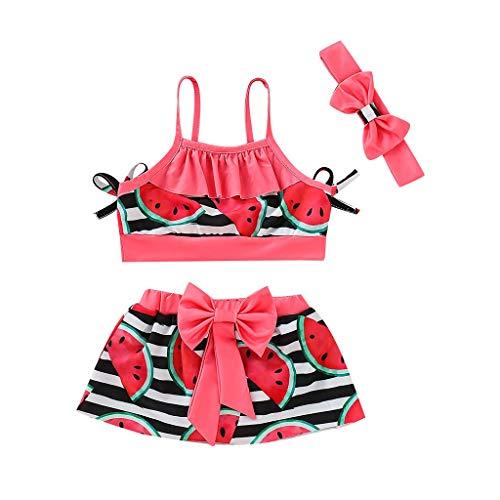 Oyedens (1-5T) Kinder Wassermelone Print Sling Badeanzug + Bogen Rock + Hairband,...