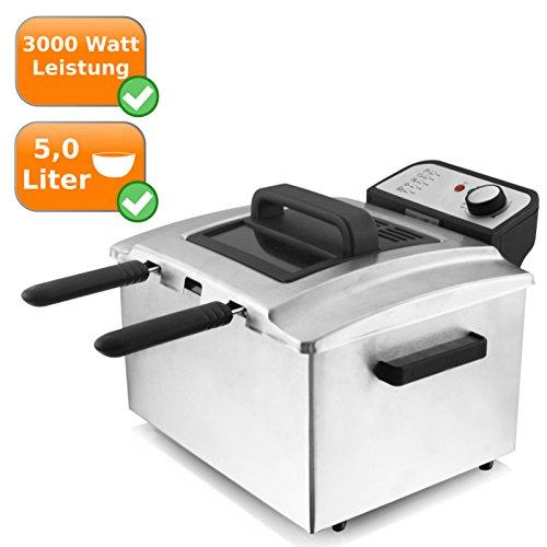 XL 5Liter Edelstahl-Fritteuse mit 3 Frittierkörben, regelbarer Thermostat bis 190°C, 3000Watt -