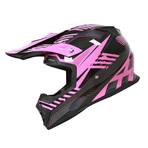 Carbon Fiber Motocross Helm, DOT/ECE Certified Motorcycle Helmet ATV City Street Riding Helm MX Rally Competition Off-Road Helmet,L