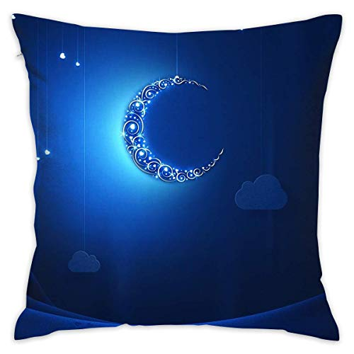 Klotr federe cuscino divano, 18x18 inches square throw pillow covers blue night moon pattern pillow cushion cases premium pillow cases king for couch sofa bed