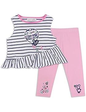 The Essential One - Bebé Infantil Niñas Camiseta y Legging Set / Conjunto - Rosa/Blanco - EOT339