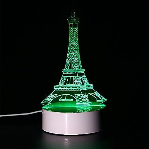 ToyUK 3D Optical Illusion Night Light 3D Lamp 7 Colors-Changing Desk Lamp LED Table Light Amazing Optical Illusion Lighting with Intelligent Remote Control (Eifel Tower)