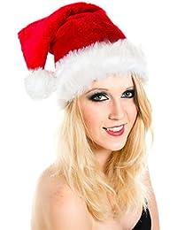 Weihnachtsmütze Mütze Weihnachten Weich Nikolausmütze Dicker Fellrand aus Plüsch Top Qualität W100