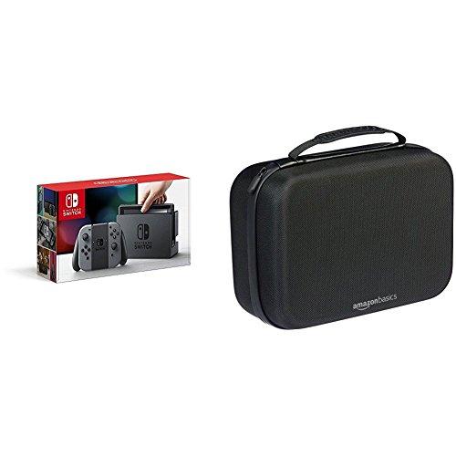 Nintendo Switch Konsole Grau + AmazonBasics - Reise- und Aufbewahrungsbox für die Nintendo Switch, Schwarz