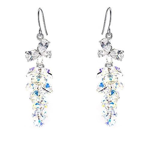 BiBeary Damen Zirkonia CZ Schmetterling Kristallen Aus Swarovski® Drop Ohrhaken Haken Ohrringe AB klar Silber-Ton