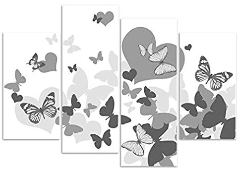 Butterfly & Heart Medley - Grey - 4 Panel - Canvas Wall Art Print Picture - Overall Size 104cm x 69cm - Framed and Ready to Hang - Please Choose Your Colour from the Selection Boxes - by Rubybloom Designs