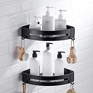 Tyro Wandhalterung, Aufbewahrungsregal, Aluminium, Eckkorb, Dusche, Shampoo, Seife, Kosmetik, Regal, Schwarz