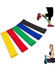 Mifine Bande Elastique Fitness - Bande de Resistance Set (5) - Équipement d'Exercices pour Musculation Pilates Squat Sport Crossfit Rééducation Physique et Motrice - Entrainement Corps, Jambes, Fessiers