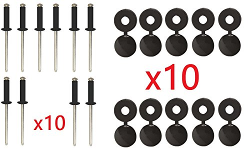 cyclingcolors Lot de 10 Rivets + Cache Rivet Noir Plaque D'IMMATRICULATION Voiture Auto Moto Scooter MOBYLETTE Protection Plastique Aveugle VIS Boulon Fixation
